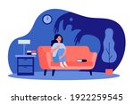 scared woman sitting on sofa...   Shutterstock .eps vector #1922259545