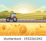 road to city tractor is driving ...   Shutterstock .eps vector #1922261342