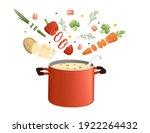 stainless red saucepan with... | Shutterstock .eps vector #1922264432