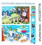 find 10 hidden objects in the... | Shutterstock .eps vector #1922287778