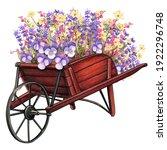 Wooden Wheelbarrow Full Of...