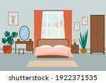 cozy bedroom interior. vector... | Shutterstock .eps vector #1922371535