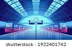 railway station platform with... | Shutterstock .eps vector #1922401742