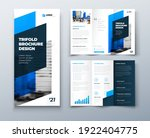 tri fold blue brochure design... | Shutterstock .eps vector #1922404775