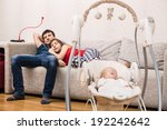 young parents watchin tv while... | Shutterstock . vector #192242642