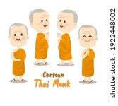 cartoon thai monk character... | Shutterstock .eps vector #1922448002