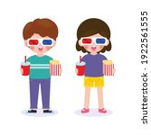 young boy and girl watching... | Shutterstock .eps vector #1922561555