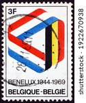 Small photo of BELGIUM - CIRCA 1969: a stamp printed in Belgium shows ribbon in Benelux colors, signing of the customs union of Belgium, Netherlands and Luxembourg, 25th anniversary, circa 1969