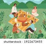 happy friends having lunch... | Shutterstock .eps vector #1922673455