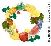 watercolor tropical fruits...   Shutterstock . vector #1922678795