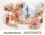 Watercolor Painting Of Eiffel...
