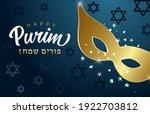 happy purim hebrew text  gold... | Shutterstock .eps vector #1922703812