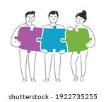 people connecting puzzle pieces....   Shutterstock .eps vector #1922735255
