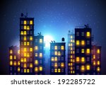 City At Night. Vector...