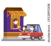drive thru fast food restaurant.... | Shutterstock .eps vector #1922895308