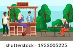 drinking coffee and eating in... | Shutterstock .eps vector #1923005225