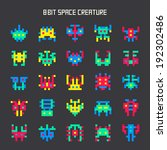 set of 8 bit game color space...
