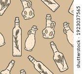 seamless background set of jars ... | Shutterstock .eps vector #1923037565
