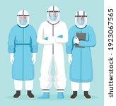 medical team in hazard suit... | Shutterstock .eps vector #1923067565