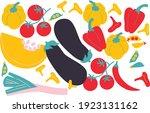 vegetables. flat style. food... | Shutterstock .eps vector #1923131162