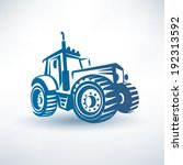 modern tractor vector symbol - stock vector