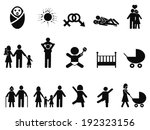 family life icons set