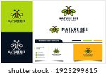 honey bee logo with wing leaf... | Shutterstock .eps vector #1923299615