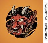 japanese demon mask vector... | Shutterstock .eps vector #1923304298