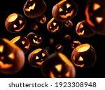 Glowing Pumpkins Levitate On A...