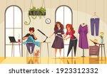 friendly seamstresses measuring ... | Shutterstock .eps vector #1923312332