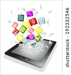 tablet pc broken glass screen.... | Shutterstock .eps vector #192332546