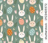 easter seamless pattern with... | Shutterstock .eps vector #1923405572