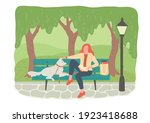 public park. woman with dog...   Shutterstock .eps vector #1923418688