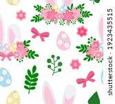 Seamless Pattern Cute Easter...
