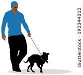 Stock vector an image of a man walking his dog 192344312