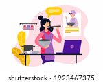 online culinary courses. female ... | Shutterstock .eps vector #1923467375