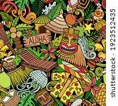 cartoon doodles hawaii seamless ... | Shutterstock .eps vector #1923512435