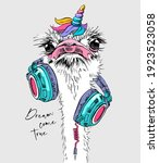 funny ostrich in a headphones... | Shutterstock .eps vector #1923523058