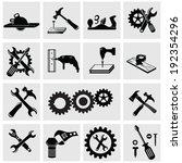 tools vector icons set on gray... | Shutterstock .eps vector #192354296