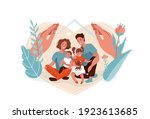 family protection  support with ... | Shutterstock .eps vector #1923613685