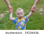 baby supported by mom and... | Shutterstock . vector #19236436