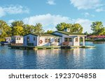 Houseboats On Pond In Lake Erie ...