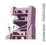 destroyed building  damaged... | Shutterstock .eps vector #1923711335