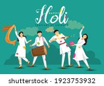 happy holi. cartoon young... | Shutterstock .eps vector #1923753932
