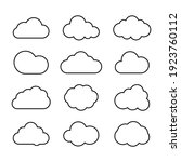 cloud icons set in trendy flat...   Shutterstock .eps vector #1923760112