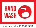hand wash sign with text. red... | Shutterstock .eps vector #1923819452