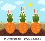 cute easter rabbits harvesting... | Shutterstock .eps vector #1923852668