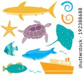 marine collection of sea... | Shutterstock . vector #192388688