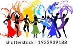 various style dancing. group of ... | Shutterstock .eps vector #1923939188