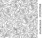 Stock vector beautiful black and white seamless pattern in roses with contours hand drawn contour lines and 192393968